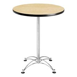 Elegant Round Stool-Height Café Table - Oak top & chrome frame