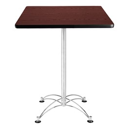 Elegant Square Stool-Height Café Table - Mahogany top & chrome frame