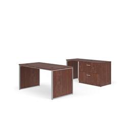 """Fulcrum Series Desk w/ Credenza & Lateral File (60\"""" W x 30\"""" D) - Cherry"""