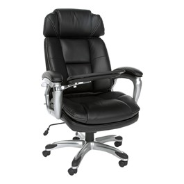 ORO Series Leather Executive Tablet Chair - Shown w/ tablet arm in use