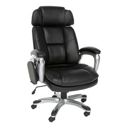 ORO Series Leather Executive Tablet Chair - Shown w/ tablet arm folded away