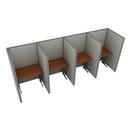 """Rize Series Privacy Stations - 1x4 Configuration w/ Full 5\' 3\"""" Height Panel (3\' W Desk)"""