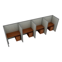 """Rize Series Privacy Station - 1x4 Configuration w/ Full 5\' 3\"""" Height Panel & Pedestal (4\' W Desk)"""