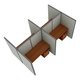 """Rize Series Privacy Station - 2x2 Configuration w/ Full 5\' 3\"""" Height Panel & Pedestal (5\' W Desk)"""