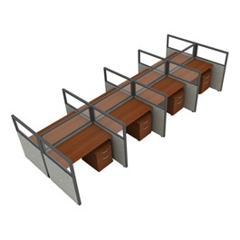 """Rize Series Privacy Station - 2x4 Configuration w/ Transparent 3\' 11\"""" Height Panel & Pedestal (4\' W Desk)"""