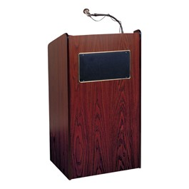 Aristocrat Floor Lectern w/ Wireless Handheld Mic - Mahogany