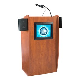 """Vision Lectern w/ 15\"""" LCD Monitor & Sound - Front"""