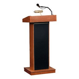 Orator Floor Lectern w/ Wireless Tie Clip Mic - Cherry