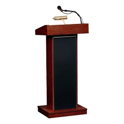 Orator Floor Lectern w/ Wireless Headset Mic - Mahogany