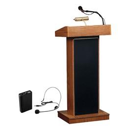 Orator Floor Lectern w/ Wireless Headset Mic - Medium Oak