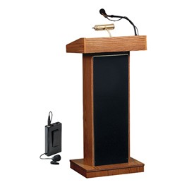 Orator Floor Lectern w/ Wireless Tie Clip Mic - Medium Oak