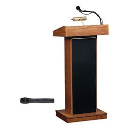 Orator Floor Lectern w/ Wireless Mic - Medium Oak
