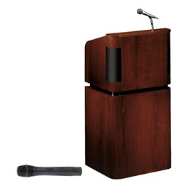 Mahogany Veneer Contemporary Lectern w/ Wireless Handheld Mic