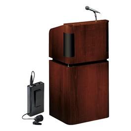 Mahogany Veneer Contemporary Lectern w/ Wireless Tie Clip Mic