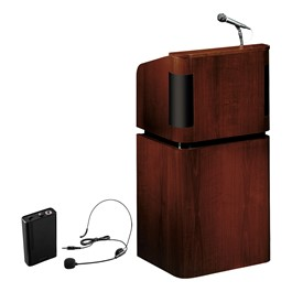 Mahogany Veneer Contemporary Lectern w/ Wireless Headset Mic
