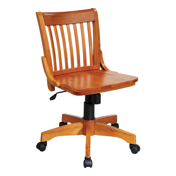 Deluxe Wood Bankeru0027s Chair W/o Arms   Fruitwood