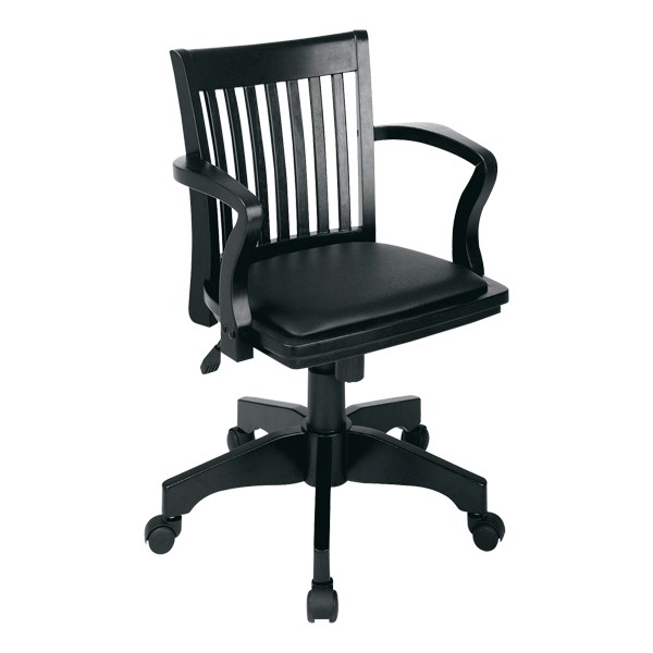 Deluxe Wood Banker's Chair w/ Vinyl Seat - Black finish w/ black padded seat