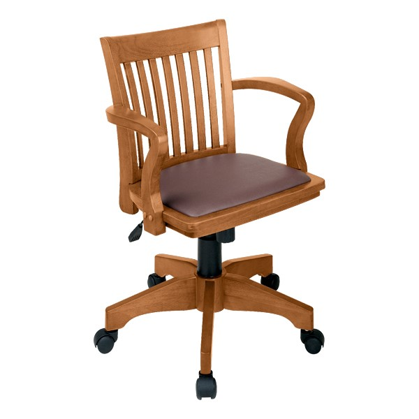 Deluxe Wood Banker's Chair w/ Vinyl Seat - Fruitwood finish w/ brown padded seat