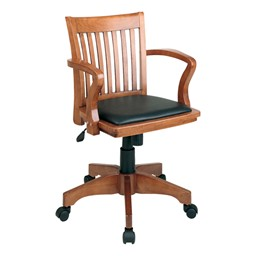 Deluxe Wood Banker's Chair w/ Vinyl Seat - Fruitwood finish w/ black padded seat