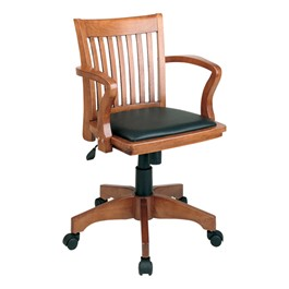 Deluxe Wood Banker\'s Chair w/ Vinyl Seat - Fruitwood finish w/ black padded seat