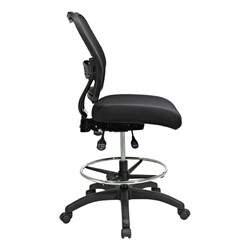 Deluxe Ergonomic Air Grid Back Drafting Chair w/ Padded Mesh Seat - Side view
