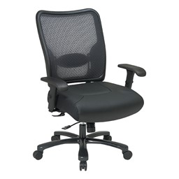 Big & Tall Double Air Grid Back Ergonomic Chair w/ Leather Seat