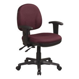 Work Smart Deluxe Ergonomic Task Chair w/ Arm Rests - Icon Burgundy