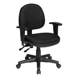 Work Smart Deluxe Ergonomic Task Chair w/ Arm Rests - Icon Black