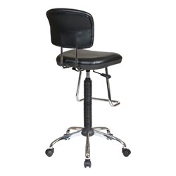 Work Smart Drafting Stool w/ Chrome Teardrop Footrest - Back view