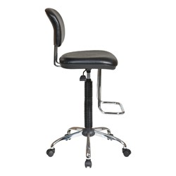 Work Smart Drafting Stool w/ Chrome Teardrop Footrest - Side view