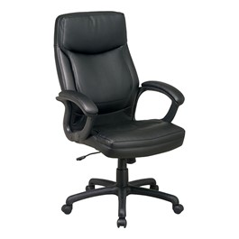 Work Smart Executive Chair w/ Top Stitching - Black