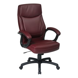 Work Smart Executive Chair w/ Top Stitching - Burgundy