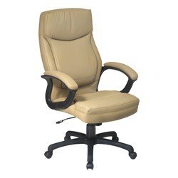 Work Smart Executive Chair w/ Top Stitching - Tan