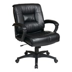 Work Smart Executive Leather Chair w/ Padded Loop Arms - Mid Back - Black