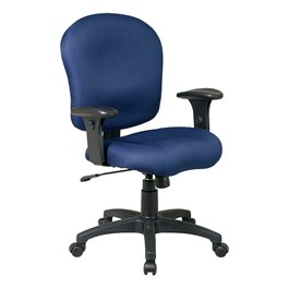 Work Smart Sculptured Office Chair w/ Adjustable Arms - Navy