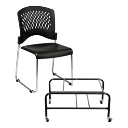 30-Pack Sled Base Stack Chairs w/ Dolly