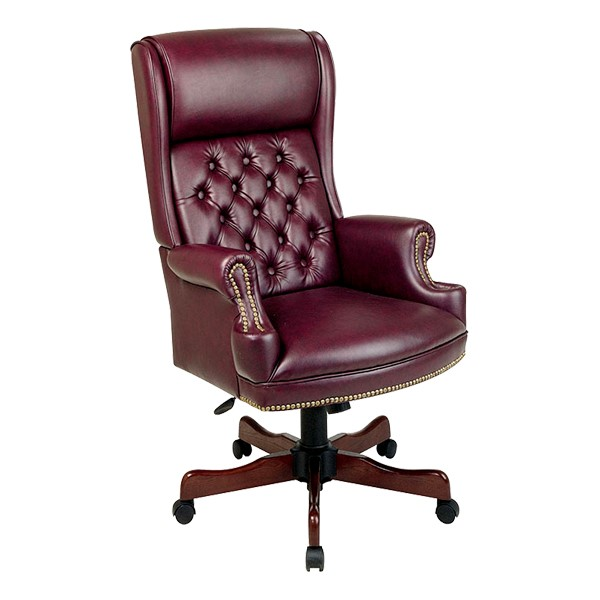 Traditional Vinyl Executive Chair w/ Pillow Top Back