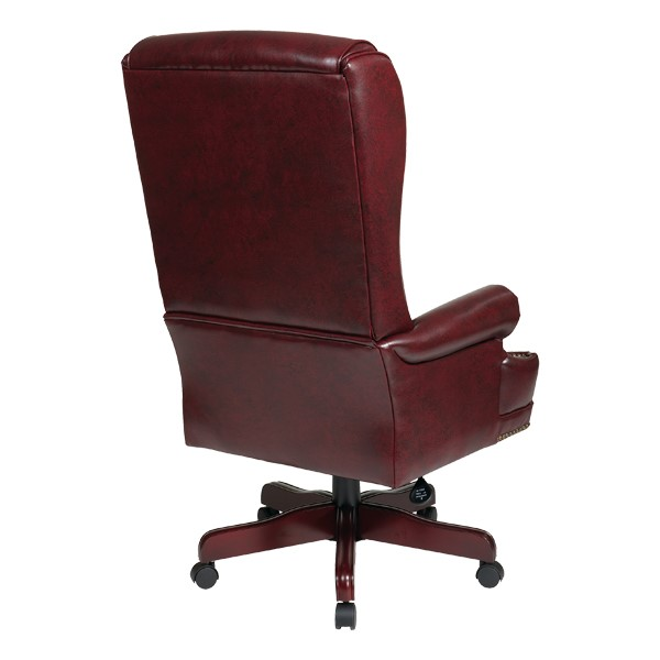 Traditional Vinyl Executive Chair w/ Pillow Top Back - Back view