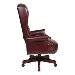 Traditional Vinyl Executive Chair w/ Pillow Top Back - Side view