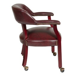 Traditional Guest Chair w/ Wrap-Around Back w/ Casters