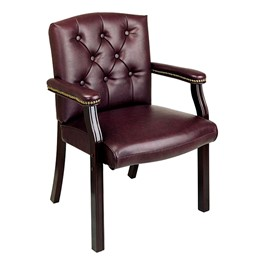 Traditional Guest Chair w/ Padded Arms - Vinyl