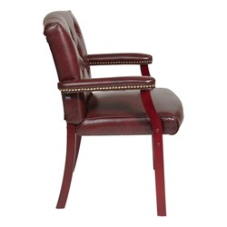 Traditional Guest Chair w/ Padded Arms - Vinyl - Side view