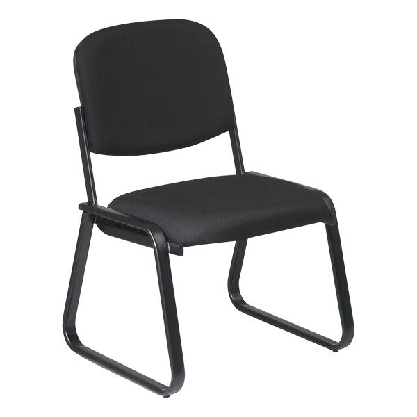 Sled-Based Guest Chair w/o Arm Rests - Diamond jet black
