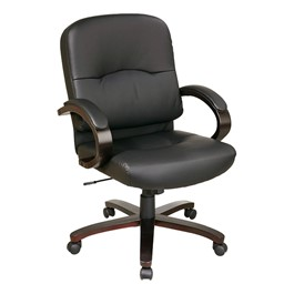 WD5000 Series Mid-Back Leather Executive Chair w/ Espresso Finish