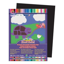 "SunWorks Construction Paper (9"" W x 12\"" L) - Black"