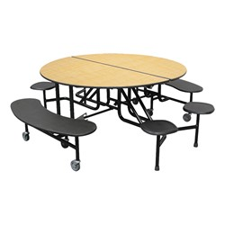 59T Series Round Combo-Seat Cafeteria Table - 2 Benches/4 Stools