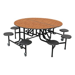 """59T Series 60\"""" Round Stool Cafeteria Table - 8 Stools"""
