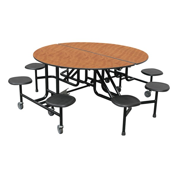 """59T Series 60"""" Round Stool Cafeteria Table - 8 Stools"""