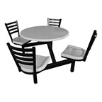 Four-Person Surface-Mount Outdoor Cluster Seating w/ Attached Table