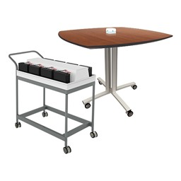 Pack of Eight Reload Flip-Top Tables w/ Recharging Cart